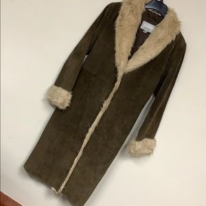 WILSONS LEATHER Maxima Suede and Faux Fur Coat